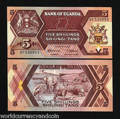 Uganda 5 Shillings P27 1987 Crane Hippo Elephant Bird Unc Africa Currency 10 Pcs
