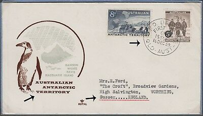 Australia Antarctic Territory Fdi V Cvr Depicting Penguin & Map To Worthing Uk