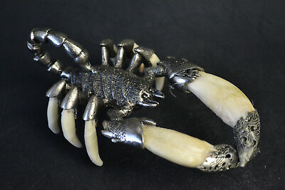 Nice Collectible Old Tibet Silver inlay Scorpion King Totem Warrior statue