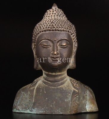 Bronze Bust Buddha Sacrifices Statue Vintage Collectable Old Decoration