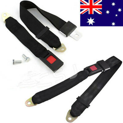 AU Black Car Truck Universal Travel 2 Point Seat Belt Lap Belt Adjustable Safety