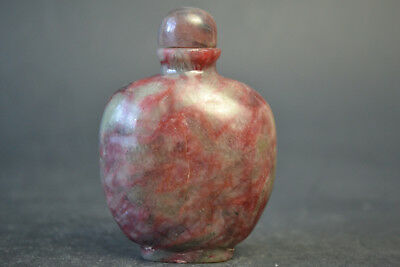 Fine Collectible Old Natural red Jade Inside Hollow Out Snuff Bottle
