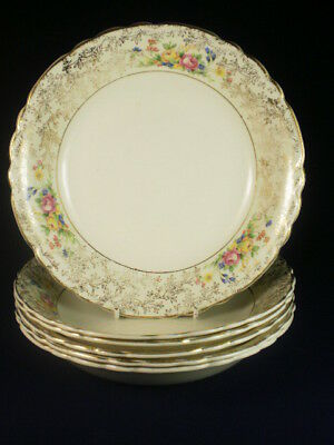 Royal Staffordshire Gold & White Floral Soup Bowls X 6