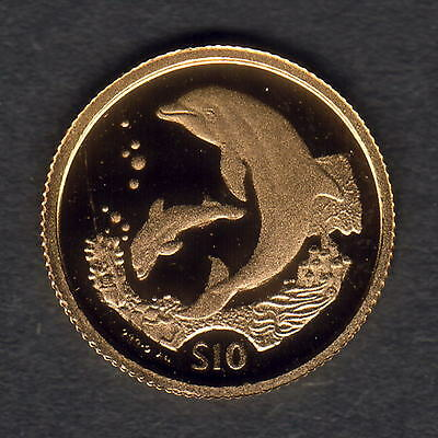British Virgin Islands. 2005 Gold $10.. Dolphin.  1.224gms  .9999 gold.. Proof
