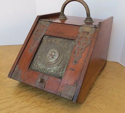 Antique English Coal Hod Scuttle  Lion & Ornate Hinges Hardware Hearth Fireplace