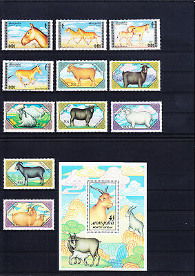 053833 Rotwild Red Deer Mongolia 1995-98 + 1999-2005 + Bl 131 ** MNH Year 1988