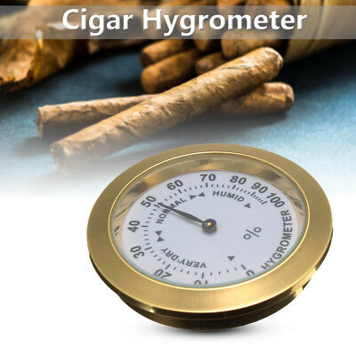 Brass Analog Hygrometer Cigar Tobacco Humidity Gauge & Glass Lens For Humidors