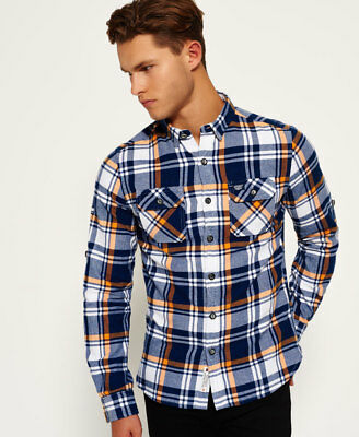 New Mens Superdry Refined Lumberjack Shirt Admiral Blue Check