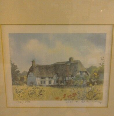White Thatched Cottage Watercolour by Jill Aldersley ref 132/750