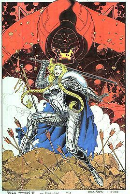 """ARTHUR ADAMS Fear Itself: The Fearless # 12 cover 11x17"""" Hand colored print"""