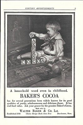 1917 Baker's Cocoa Dorchester MA Young Child Playing With Blocks Ad
