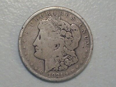 Us 1921 Morgan Silver One Dollar Coin, Vg, Very Good