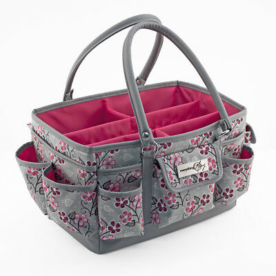 Everything Mary Deluxe Store Tote Organiser   Grey/Pink Flower    EVM9152-9