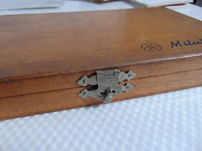 "Mitutoyo Wood Box/Case ONLY for Micrometer Code #103-218 0m-4""V Japan *BOX ONLY*"