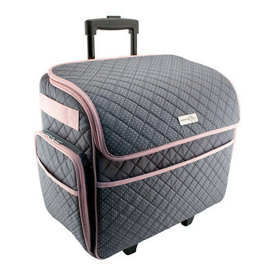 Everything Mary Deluxe Sewing Trolley Quilted Grey/Pink 46x23x46cm EVM10130-3