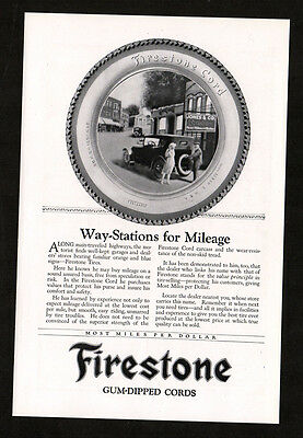 1922 FIRESTONE Cord Tires vintage Original Print AD - Way-stations for mileage