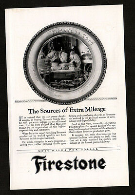 1922 FIRESTONE Cord Tires vintage Original Print AD The sources of extra mileage