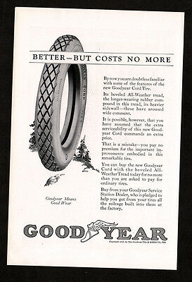 1923 GOODYEAR cord tires vintage Original Print AD - Better but costs no more