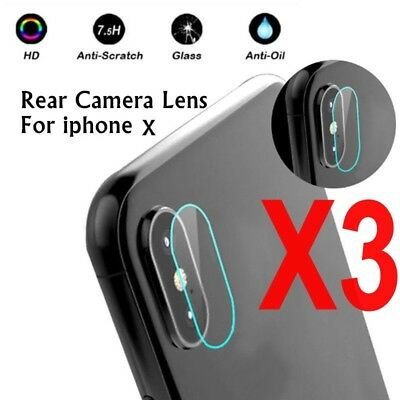 3x Rear Camera Lens 7.5H Tempered Glass Protector Guard Cover For iphone  X