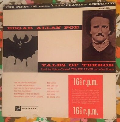 Edgar Allan Poe~TALES OF TERROR~ read by Nelson Olmsted~first 16&2/3 LP❤️