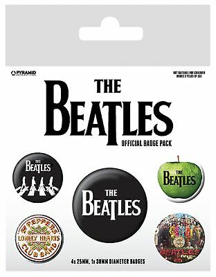 The Beatles Badge Pack Albums band Logo abbey road new Official 5 X Button