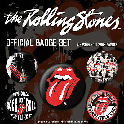 The Rolling Stones Badge Pack Classic Tongue Band Logo Official New 5x Button
