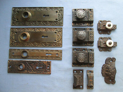 Lot Antique Victorian Door Plates, Cabinet Latches, Etc. Nice No Reserve