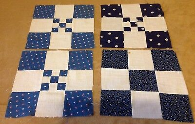 Four Antique Patchwork Quilt Blocks, Early Fabrics, Nine Patch, Navy, Med. Blue
