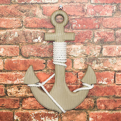 Large Wall Mounted Decorative Wooden Anchor Nautical Hanging Sign Bath Bedroom