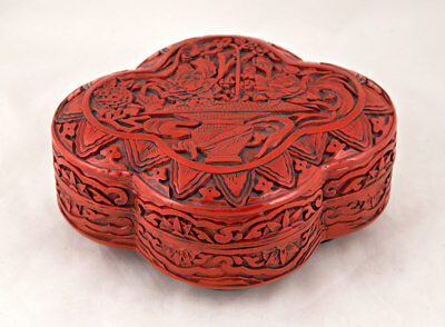 Chinese Carved CINNABAR LACQUER TYPE LOBED LIDDED BOX Red w/ Black Interior NR