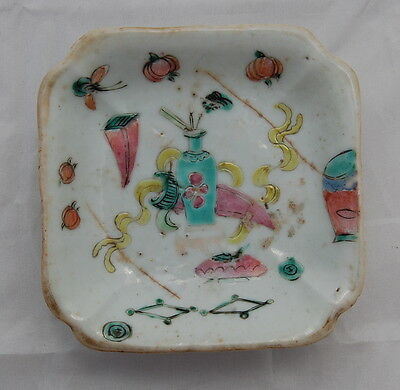 Antique 19th Century Tongzhi Chinese Famille Rose Porcelain Footed Dish AsIs