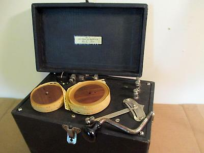 Vintage Instructograph Hand Crank Morse Code Instructor Key Machine Wood Reels