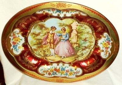 Daher Oval Metal Hanging Serving Tray Courting Couple England