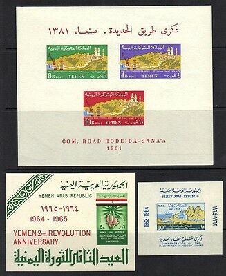 YEMEN KINGDOM & REPUBLIC 1960's COLLECTION OF 9 SOUVENIR SHEETS ALL NEVER HINGED