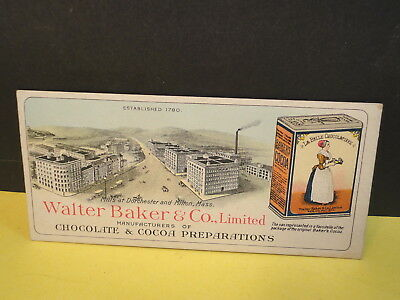 Antique walter baker trade card cocoa ~ paper label can