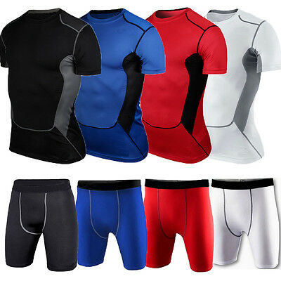 Mens Sports Compression Workout Base Layer Running Tights Tee Tops Shorts Pants