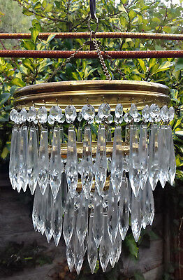 Beautiful Vintage Reclaimed 3 Layer Brass & Glass Icicle Chandelier Light