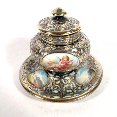 Dresden Helena Wolfsohn Sterling Silver Overlay Hand Painted Putti Inkwell