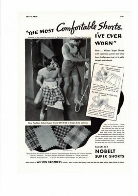 Vintage 1936 Wilson Brothers No Belt Super Shorts Men's Underwear Sexy Ad Print