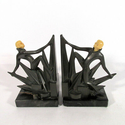 Pair Antique Germany Art Deco Bronze Bookends on Marble Base