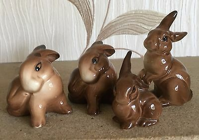 BESWICK RABBIT FAMILY MODEL No's 823 824 (2) and 826 FOUR IN TOTAL VGC