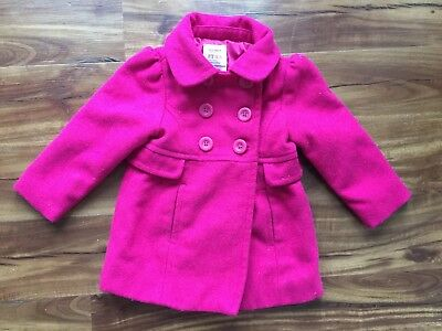 Old Navy Toddler Girls Pea Coat Jacket Fall Size 2 2T Magenta Pink Cute Warm