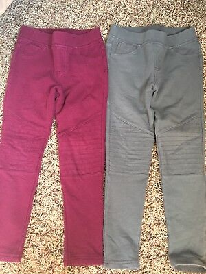 Lot 2 Tea Collection French Terry Moto Pants Girls size 6 gray and magenta