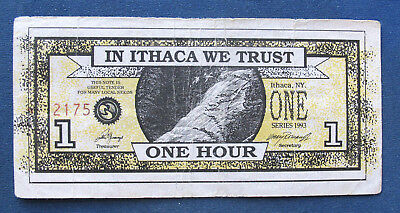 Ithaca Hours 1 Hour 1993. Ithaca NY local currency. aVF Waterfalls, Ithaca clock