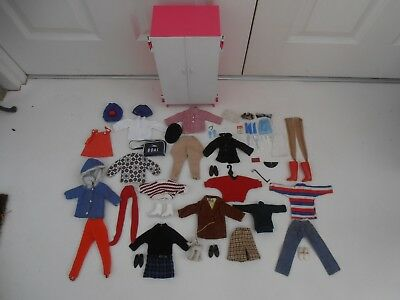 VINTAGE 60's PEDIGREE SINDY DOLL CLOTHES, OUTFITS, ACCESSORIES IN WARDROBE