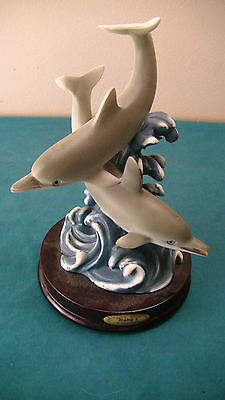 RARE- Rubg's Collectible Sculpture DOLFINS Figurine by CROSA Wood Base Statue