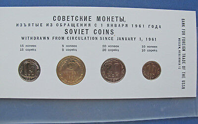 Russia 4 Coin Set, 5, 10, 15, 20 Kopeks 1957. Choice UNC in original Moscow pkg