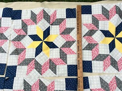 Vintage Quilt Blocks Squares 17 By 17 Star Baby Blocks Hand Stitched