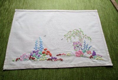 Vintage Tray Cloth Hand Embroidered English Cottage Garden Flowers-Unused