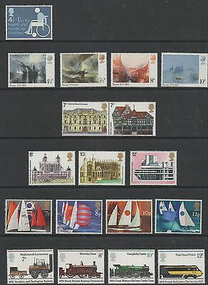 GB 1975 complete commemorative sets of stamps unmounted mint 8 sets